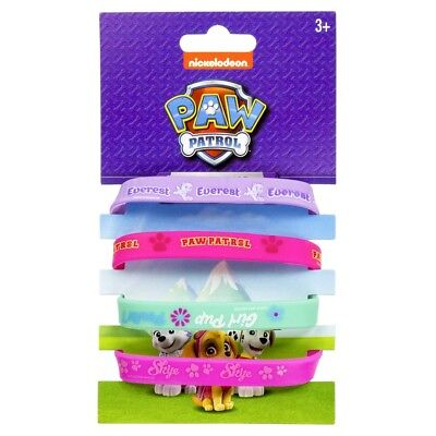 Set of 4 Girls Paw Patrol Wristbands Skye Everest Girl Pup Bracelets Gift Set UK