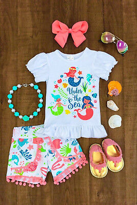 NEWEST Kids Baby Girl Mermaid Cartoon Top T-shirt Shorts Clothes Outfit Summer