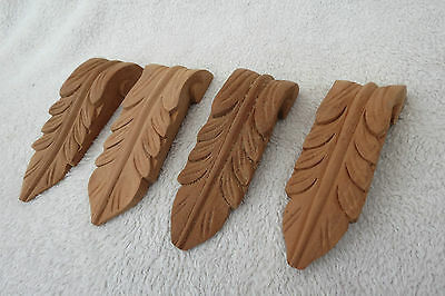 X 2 Pairs Of Carved Hardwood Acanthus Mouldings