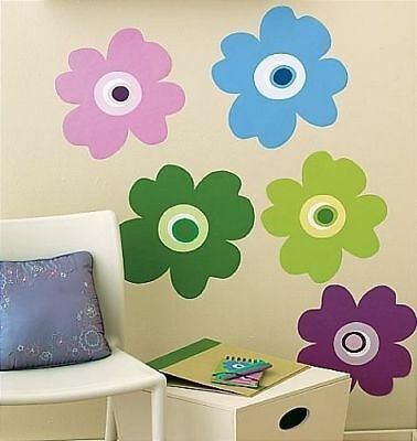 WALLIES POP FLOWERS wall stickers 5 big prepasted decals colorful MURAL decor