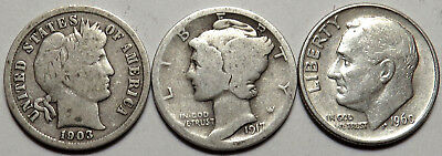 Barber, Mercury, 90% Roosevelt Dimes 3 Silver Coins. Old Coin Type Collection C8