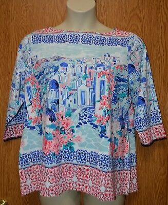 Womens Pretty Scenic Charter Club 3/4 Sleeve Shirt Size 0X NWT NEW