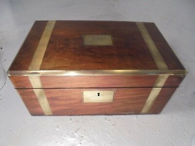 Antique Walnut Brass Banded  Writing Slope  Box , Secret Drawers   ref 4411