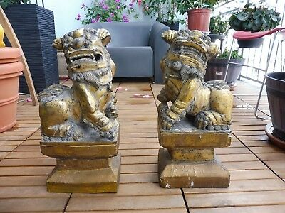 Pair Of Wonderful Vintage Hand Carved Wooden Asian Food Dogs With Gold Gilt