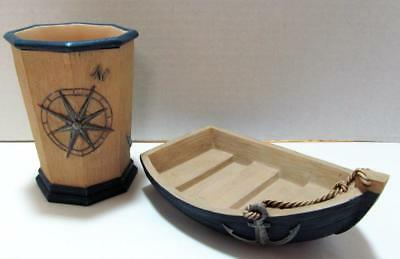 Nautical Bath Set BEACHSIDE Rowboat Soap Dish & Tumbler with Anchor & Compass &