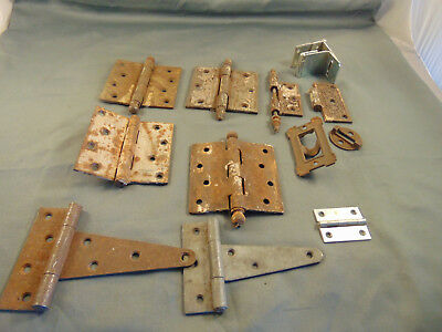 13 pc Antique metal ornate hinges scroll design plain cabinets doors chests art