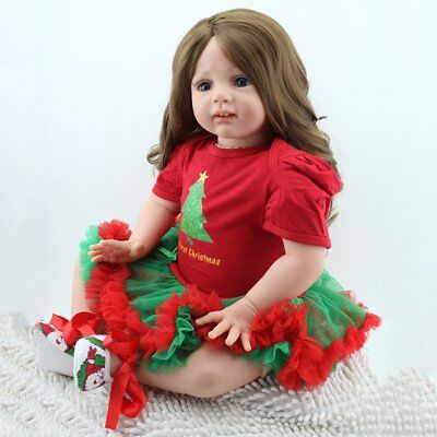 "Reborn Newborn Dolls 24""Handmade Toddler Soft Vinyl Silicone Baby  Long Wig Doll"