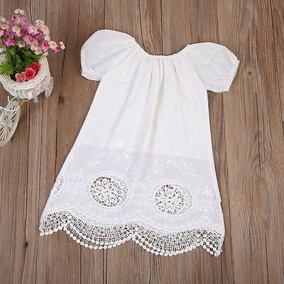 Boutique Toddler Kids Baby Girls Short Sleeve Party Dress Sundress Clothes US