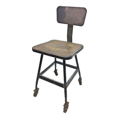 Vintage INDUSTRIAL STOOL steel metal chair seat steampunk rolling drafting black