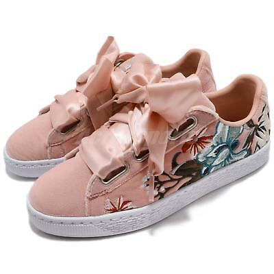 586e5db0d62 Puma Basket Heart Hyper Emb Wns Embroidery Flower Pink Women Shoes 366116-02