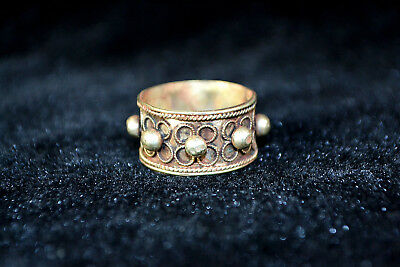 Vintage Collectible handwork Old Tibet Silver carve flower chinese totem Ring 1
