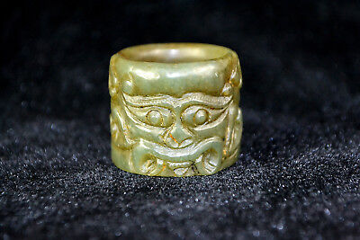 Vintage Old Natural Jade Handwork carve Noble  dragon chinese Beauty Ring