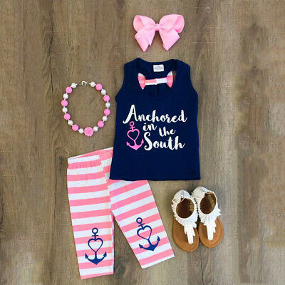 US Kids Baby Girl Sailor Clothes Sleeveless Top T Shirt Pants Outfits Set res