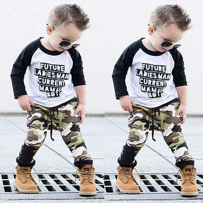 US Stock Baby Boys Clothes Outfit Set Kids Camouflage T Shirt Tops + Long Pants