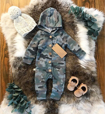 US Baby Boy Girl Camouflage Romper Jumpsuit Bodysuit Playsuit Outfit Clothes res