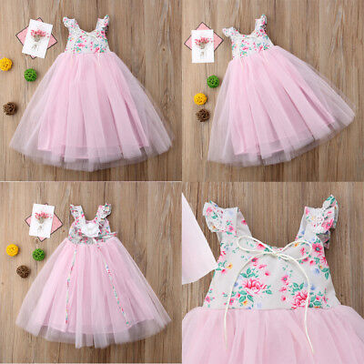 Baby Girls Infant Party Prom Floral Long Wedding Dress Skirt Tulle Tutu Dresses