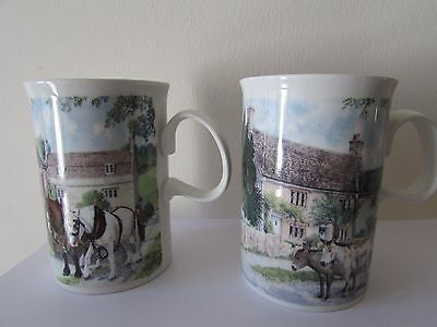 2 X Dunoon  Made In Scotland Mugs By Richard Partis, Farmyard Scenes ,unused.