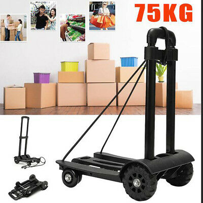 Folding Steel Frame Hand Wheel Truck Trolley Shopping Luggage Cart Load 75KG