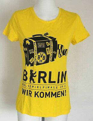 Borussia Dortmund Ladies Yellow Graphic Tee Shirt By Puma Size Uk 14 Brand New