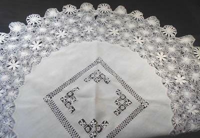 "Vintage Hand Made Teneriffe Lace 45"" Round Tablecloth W/draw Work,seldom Seen!"