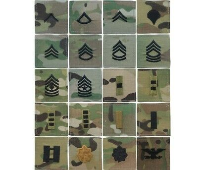 New Multicam OCP Military Army 2x2 Sew On Rank Enlisted & Officer