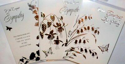 SYMPATHY CARDS DELUXE FOILING x 36 just 30p per card, WRAPPED,