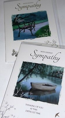 SYMPATHY CARDS x12 just 27p, WRAPPED, (FOILED, EMBOSSED-FULL COLOUR INSIDE (G104