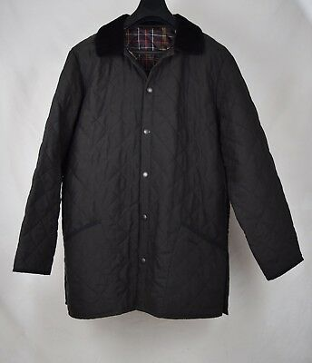 Barbour Quilted Jacket Classic Eskdale Black Flyweight Chelsea Coat L Mens