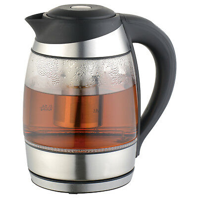Culinary Edge ET1750 1.8L Electric Digital Control Glass Kettle with Tea Infuser