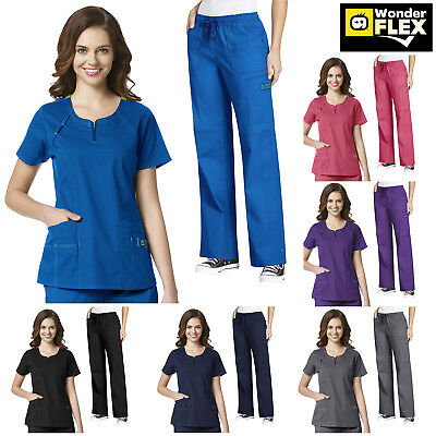 WonderWink Flex [XXS-3XL] Women's Fashion Medical Nurse Scrub Zip Top Pants Set