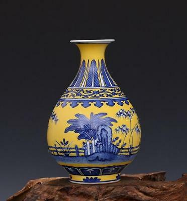 Chinese old hand-carved Yellow to blue and white porcelain flower pattern  vase