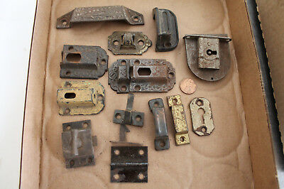 Vintage 1900 Lot Hardware Cast Iron Victorian Latches Bin Pull Catches Lock Old
