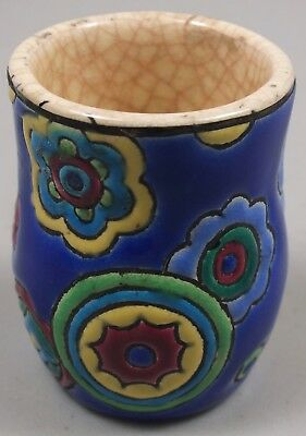 Antique Primavera Longwy France Pottery Toothpick Holder Marked Millefiore