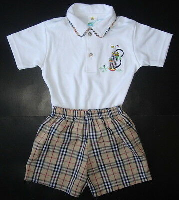 BABY BOY OUTFIT Designer Clothing Golf T-Shirt Shorts Soft Cotton Suit Age 0-2