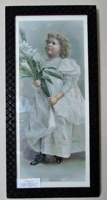 """Antique Victorian Picture Frame w/ 1889 Best Soap Co Adv. Print """"Easter Lilies"""""""