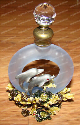 Dolphin, Sea Turtle Perfume Bottle (3602) Pewter, Baked Enamel Finish, Glass