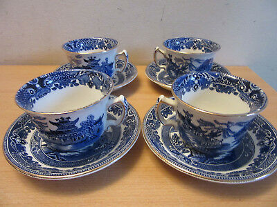 8pc lot Vintage Burleigh Ware, England Blue Willow (4) Tea Cup & Saucers