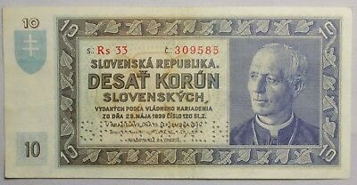 1939 Slovak State 10 Korun Note, Specimen Bill, Very High Grade, Old World Note