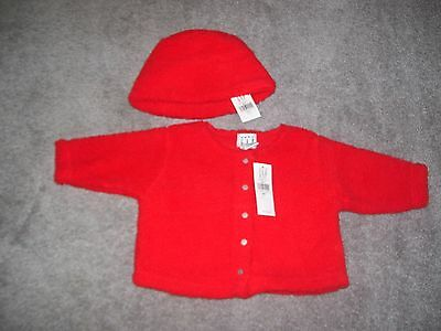 Baby Gap Red Fleece Jacket & Hat Size 3-6 Months  New With Tags