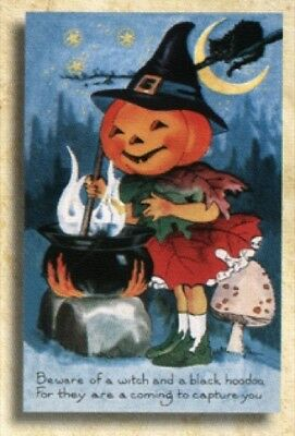 Old World Christmas Set of 10 Halloween Greeting Cards: PUMPKINHEAD WITCH #89704