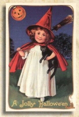 10 Old World Christmas Halloween Greeting Cards: JOLLY LIL' WITCH #89730 Retired