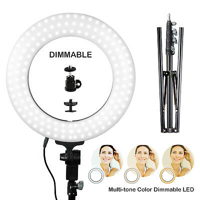 "Lusana Studio 14"" 2500~ 5600K Continous Camera Photo Dimmable LED Ring Light Kit"