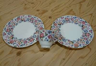 Crown Staffordshire Fine English Bone China 2 Salad Plates & Cup Excellent