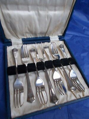 Vintage Art Deco Boxed set 6 silver plated EPNS cake / pastry forks & server