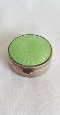 Vintage Silver 925 Guilloche Enamel Lime Green Snuff Box