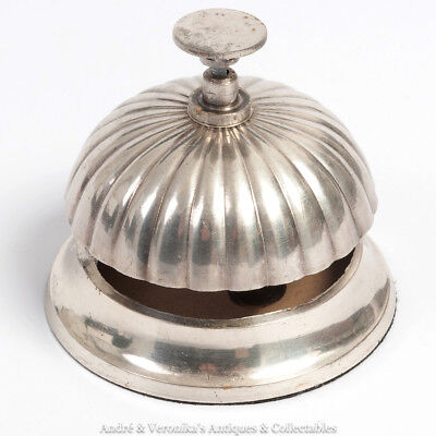 Vintage Silver Plated RECEPTION BELL Service Shop Guesthouse Hotel Antique Style