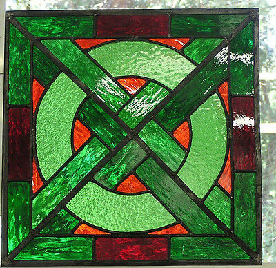 Ely Medieval Stained Glass Panel- Green, Pale Green And Red With Orange Inserts