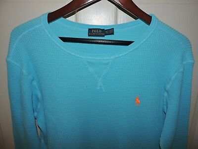 POLO RALPH LAUREN Women's L/S Cotton Waffle Knit Thermal Top Turquoise Size XL