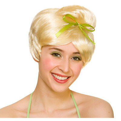 Adults Neverland Fairy Wig Short Blonde Hair Ribbon Bow Pixie Lost Boys Tinker