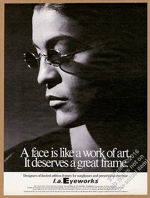1993 Aileen Getty photo L.A. Eyeworks glasses vintage print ad